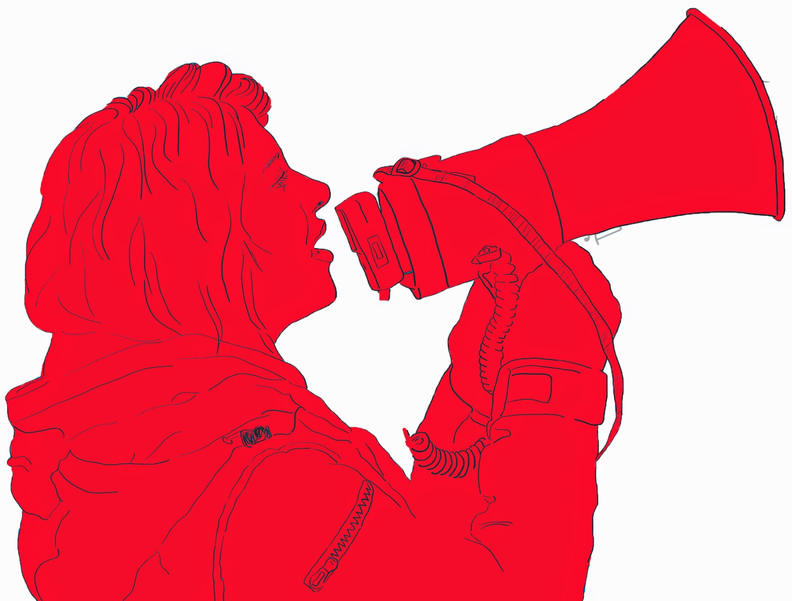Megaphone Woman Red